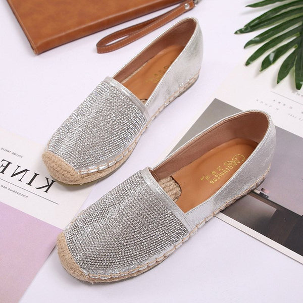 Bloc talon slip-on bout rond strass talon bas chaussures minces plaine