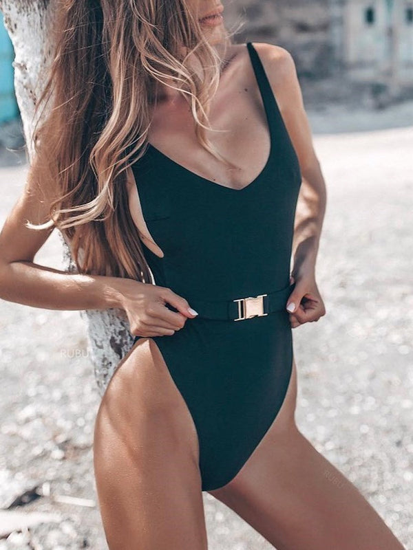 Plain One Piece Beach Look Swimwear
