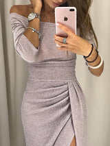 Off-The-Shoulder Three-Quarter Sleeve Split Party/Cocktail Dress