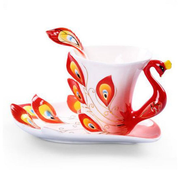 Hot Selling Elegant Peacock Porcelain Enamel Coffee Cup