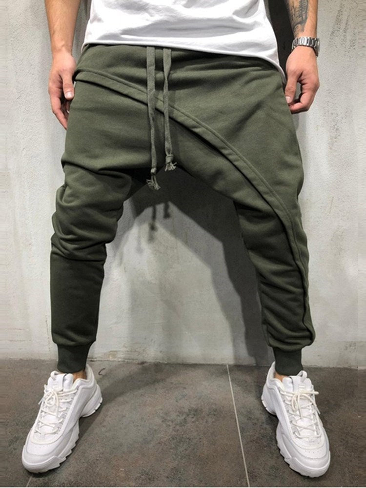 Asymmetric Plain Lace-Up Spring Casual Pants