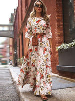 Half Sleeve Print Floor-Length Expansion Spring Dresses