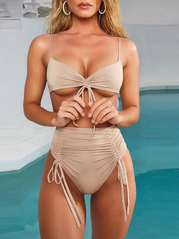 Pleated Plain Tankini Set Swimwear