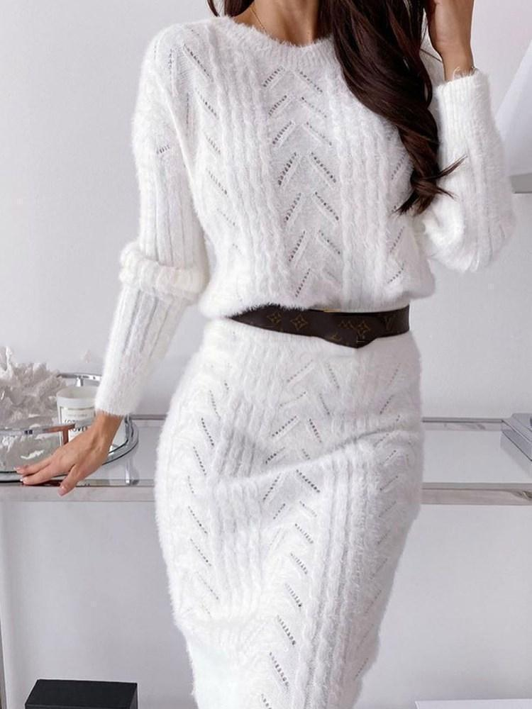 Long Sleeve Round Neck Mid-Calf Casual Pullover Dress