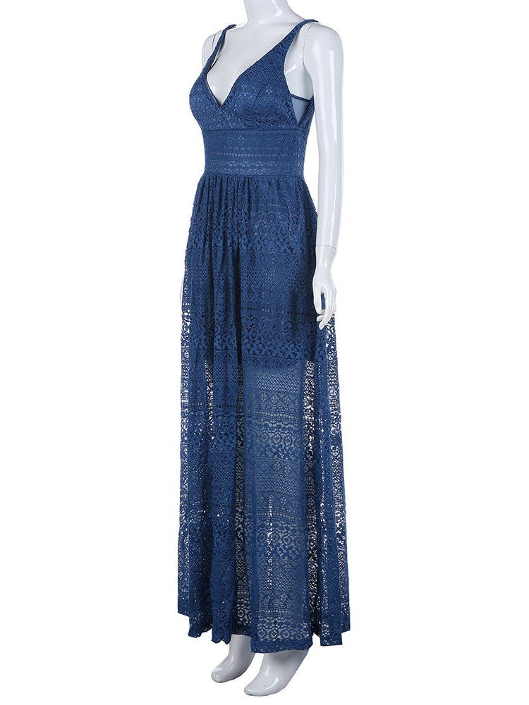 Pocket Sleeveless Floor-Length A-Line High Waist Dress