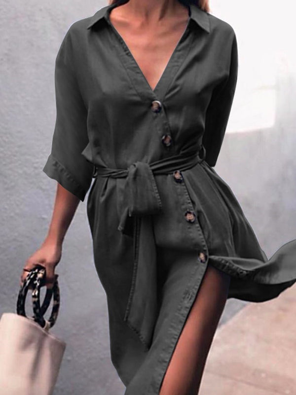 Button Above Knee Lapel Plain A-Line Dress