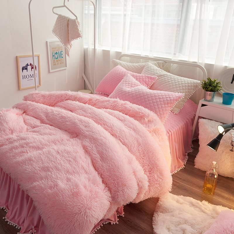 Pink Suede Four Piece Bedding Set Cute Girl Favorite Winter Duvet Cover