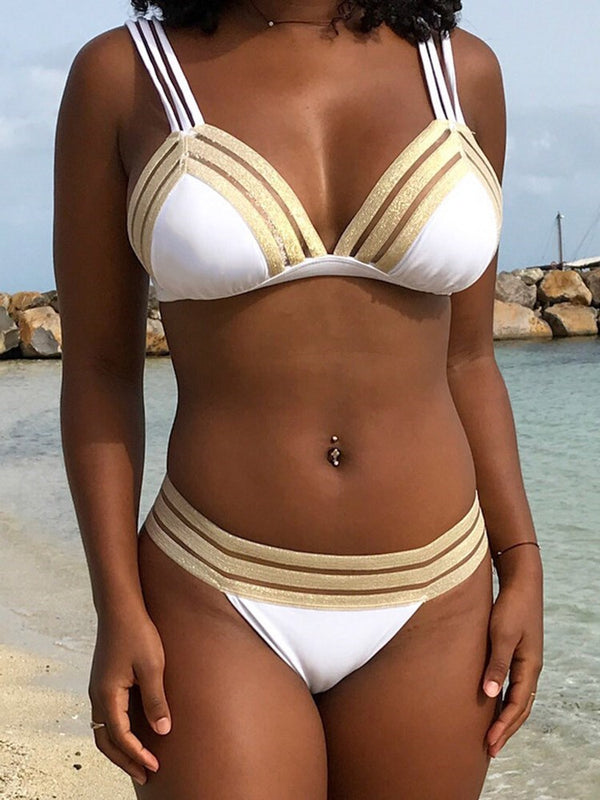 Color Block Bikini Set Sexy Swimwear