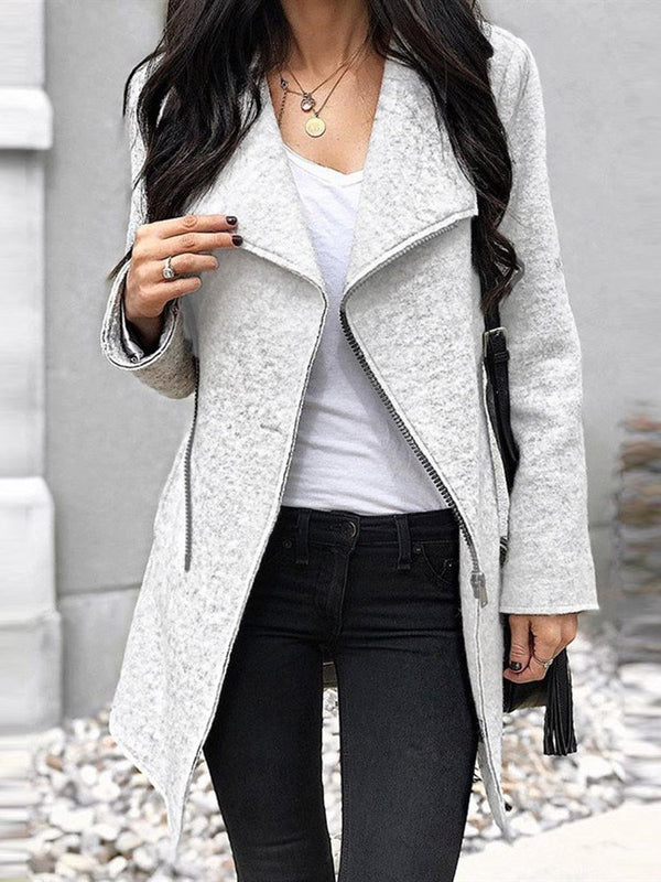 Mid-Length Slim Fashion Women Lapel Coat