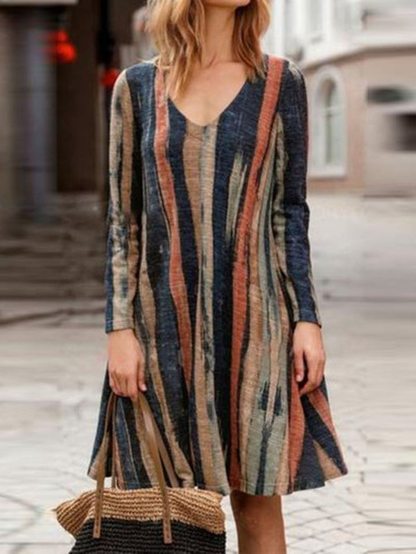 Knee-Length Long Sleeve V-Neck Straight Stripe Dress