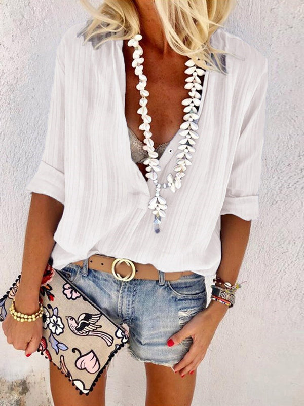 V-Neck Regular Standard Long Sleeve Blouse