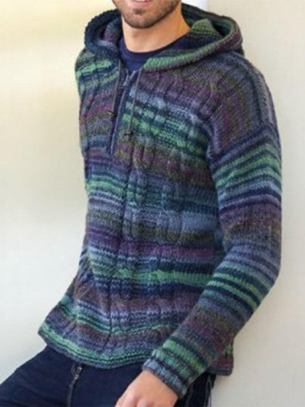 Color Block Hooded Standard Casual Winter Sweater