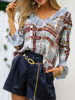 Lantern Sleeve Ruffled Collar Button Long Sleeve Standard Blouse