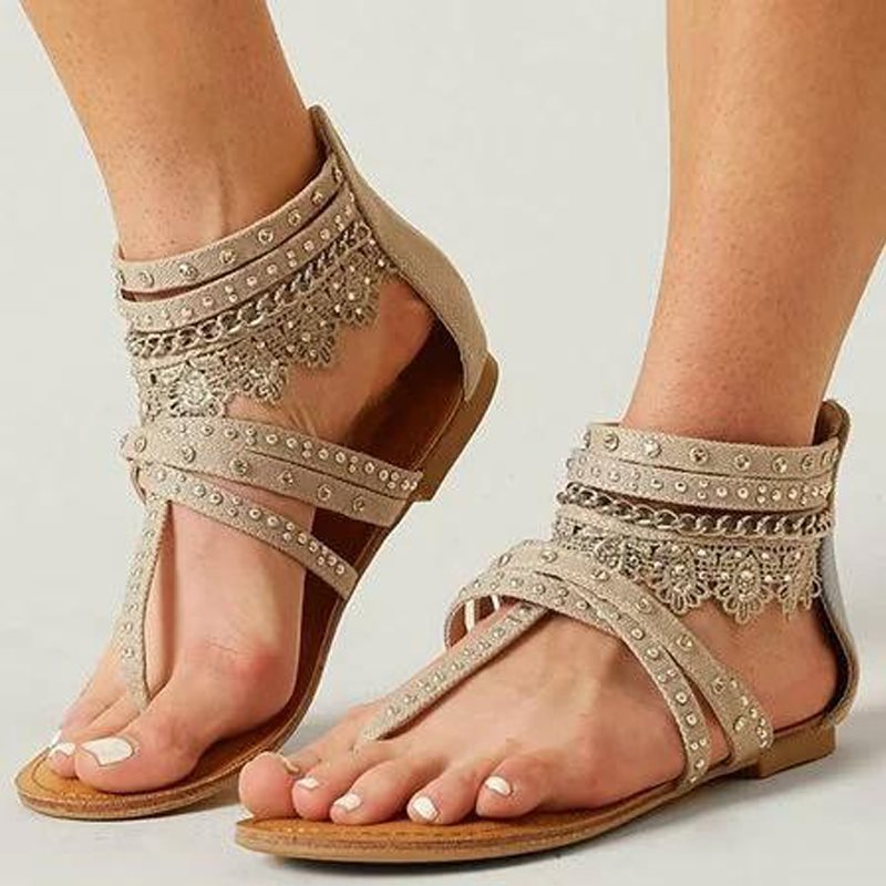 Zipper Thong Flat With Vintage Sandals