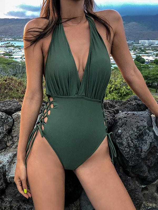 Pleated Plain One Piece Swimwear