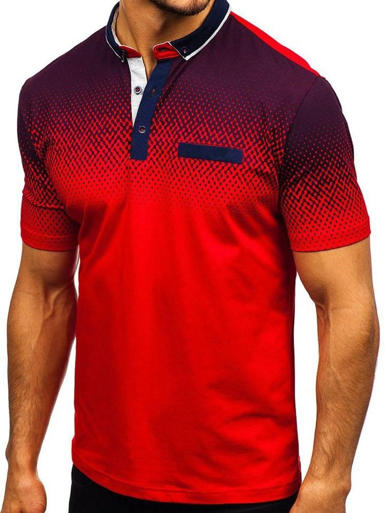 Casual Button Polka Dots Polo Shirt