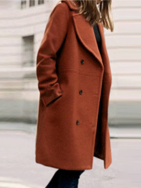 Straight Double-Breasted Regular Notched Lapel Mid-Length Overcoat