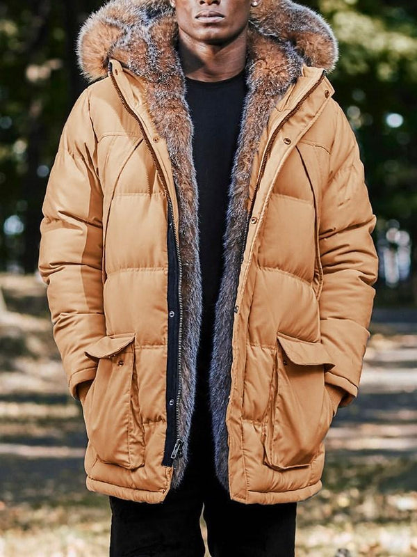 Mid-Length Color Block Hooded Casual Zipper Down Jacket