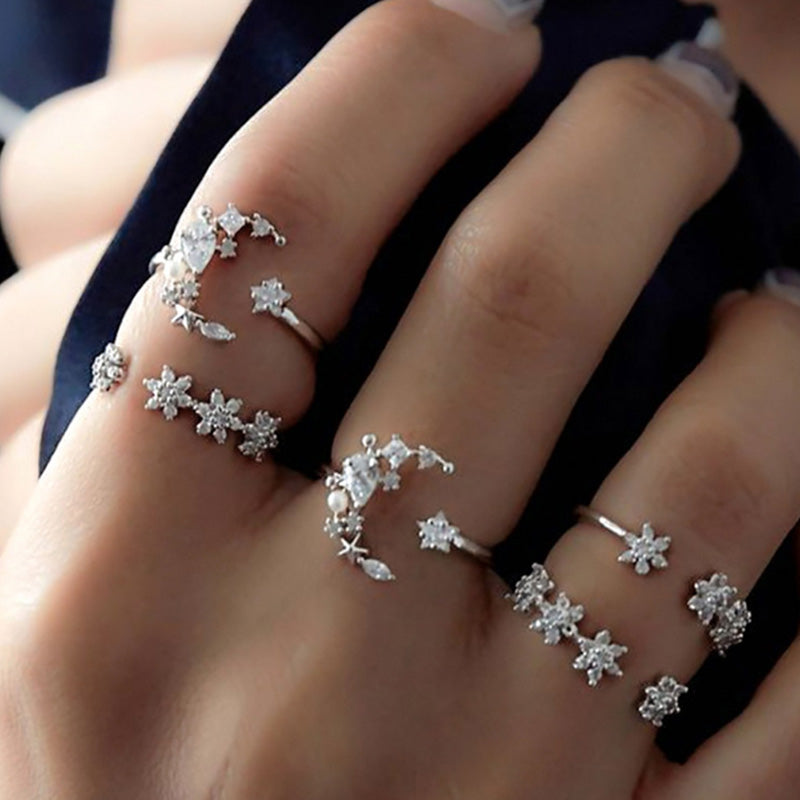 Star and Moon Five-Piece Ring Set