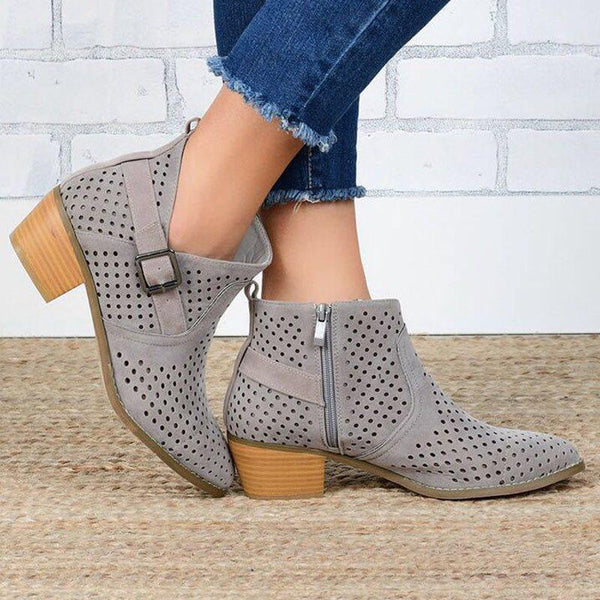 Side Zipper Patchwork Pointed Toe Chunky Heel Thread Western Boots