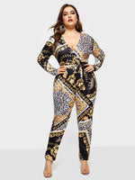 Date Night Print Color Block High-Waist Slim Jumpsuits