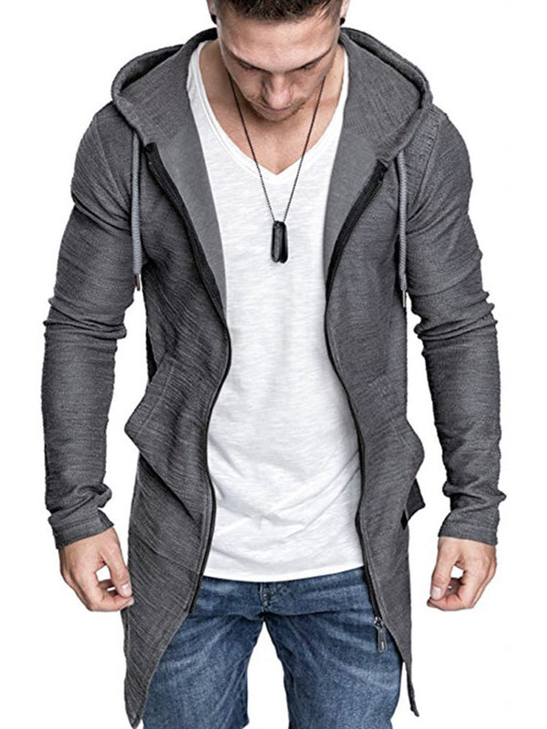 Plain Cardigan Regular Zipper Casual Hoodies
