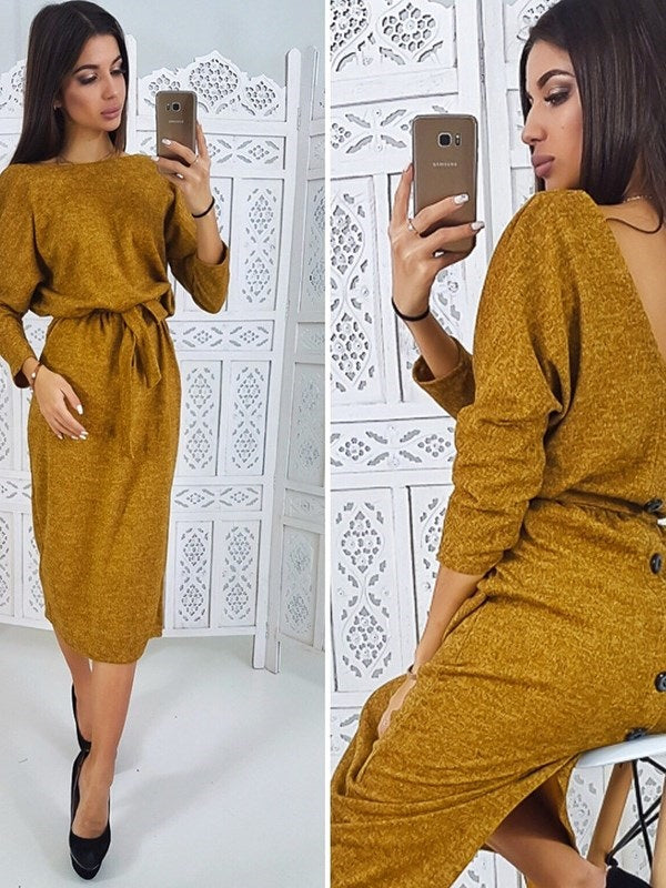 Long Sleeve Mid-Calf Belt Pullover Spring Dresses