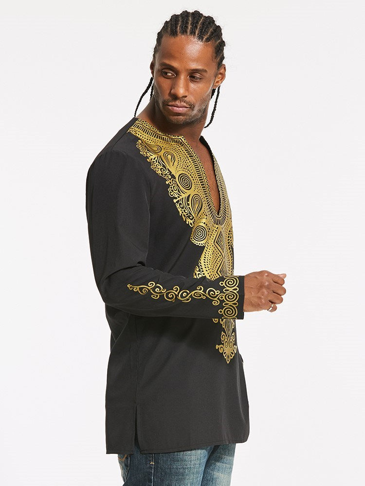 Dashiki V-Neck Golden African Print Straight Men's T-shirt