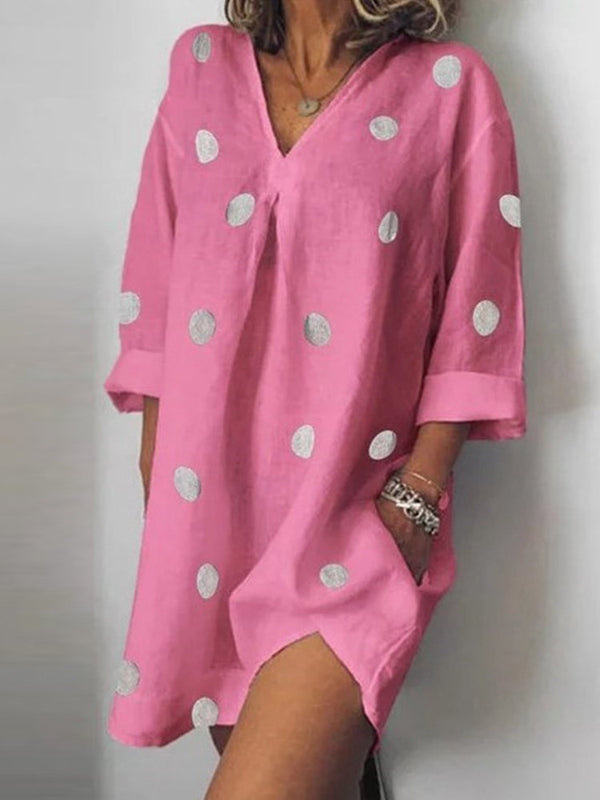 Above Knee V-Neck Nine Points Sleeve Regular Polka Dots Dress