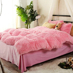 Full Size Sweet Pink Super Soft Plush 4-Piece Fluffy Bedding Set / Copripiumino