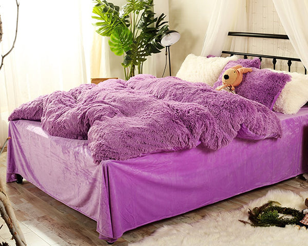 Piumini Super Soft Full Purple Plush 4-Piece Fluffy Bedding Sets / Copripiumini