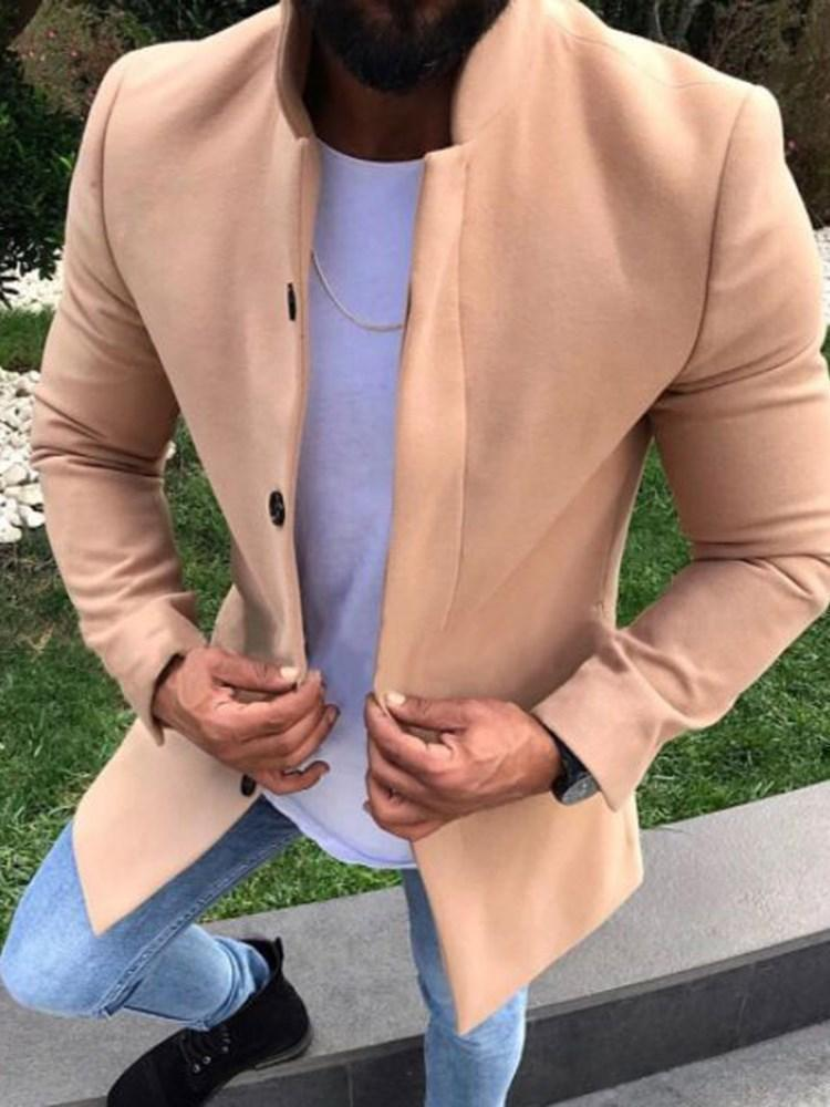 Trench coat allentato casual a media lunghezza con bottoni