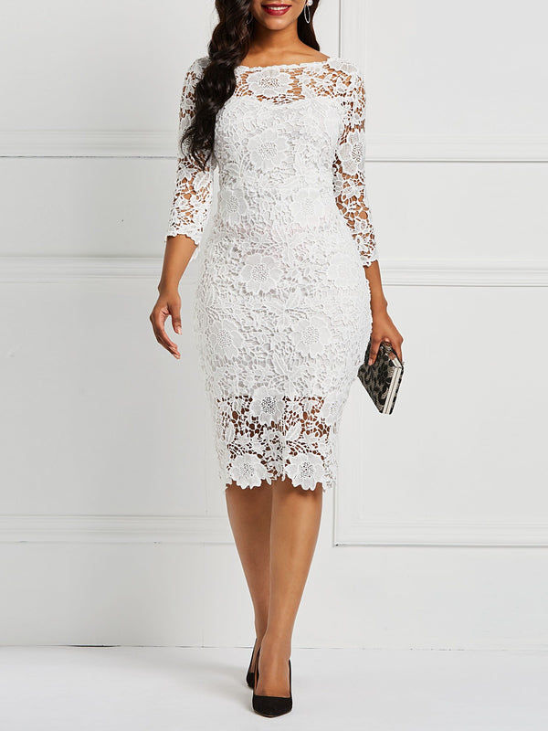 Hollow Patchwork Three-Quarter Sleeve Lace Dress
