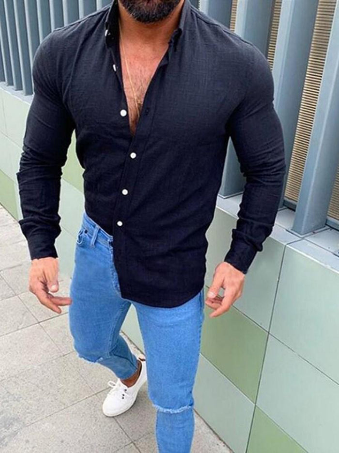 Colorful Long Sleeve Men's Straight Shirt