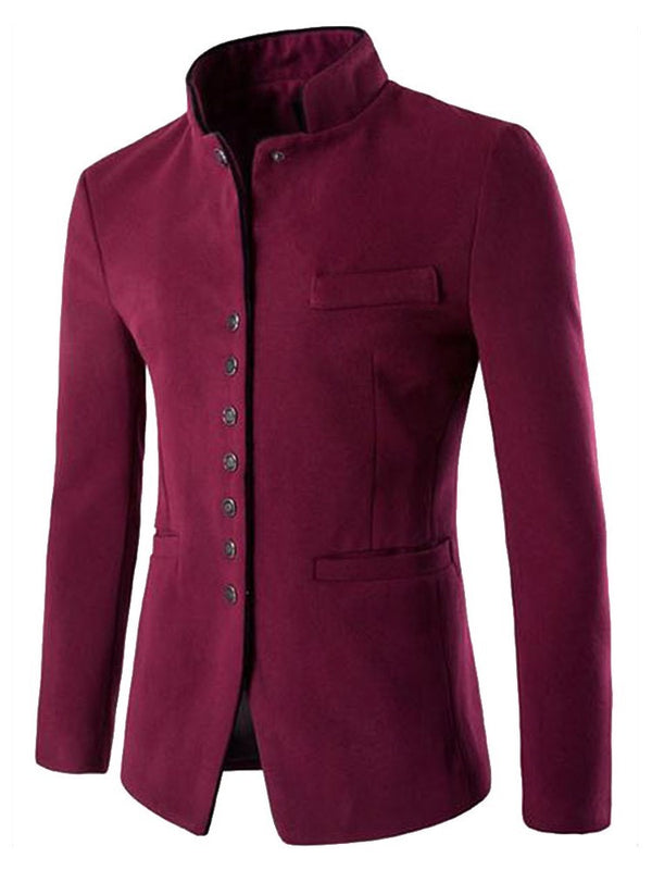 Pocket Thin Plain Single-Breasted England Jacket