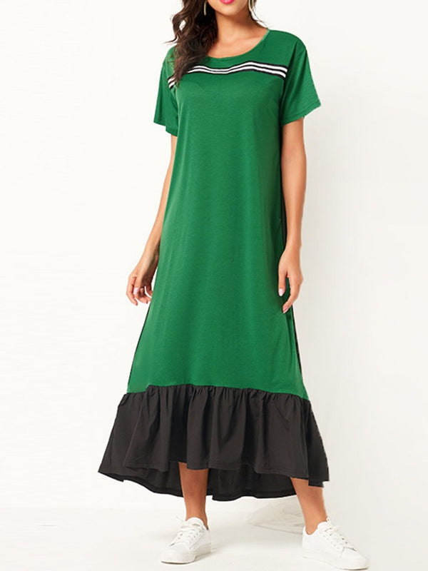 Short Sleeve Mid-Calf Round Neck A-Line Pullover Dress