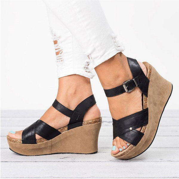 Buckle Wedge Heel Open Toe Strappy Plain Casual Sandals