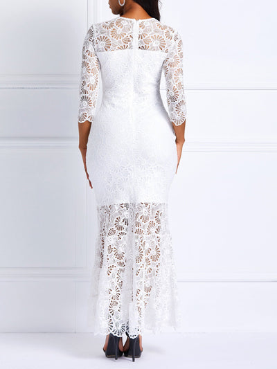 Mermaid Round Neck Lace Maxi Dress
