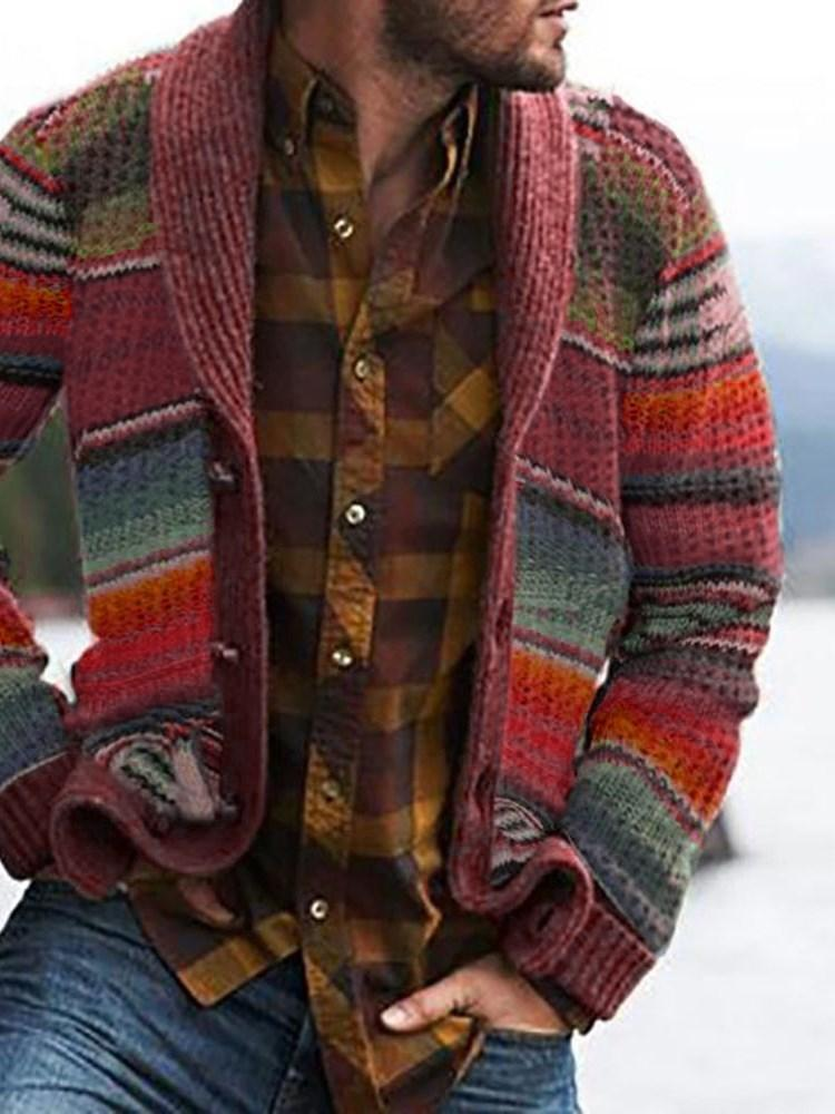 Button Color Block Standard Fall Loose Sweater