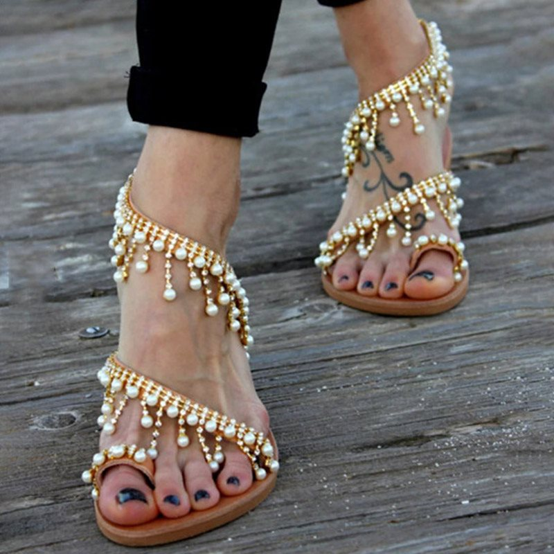 Toe Ring Slip-On Flat With Western Beads Sandals