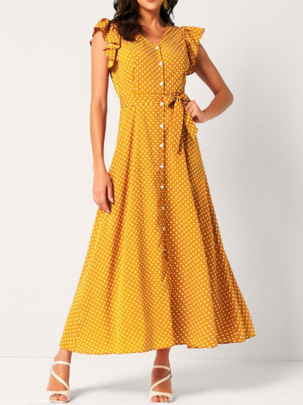 Cap Sleeve Stringy Selvedge Mid-Calf A-Line Sweet Dress