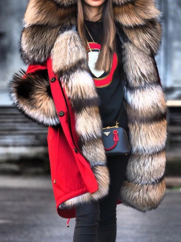 Long Regular Loose Thick Faux Fur Overcoat