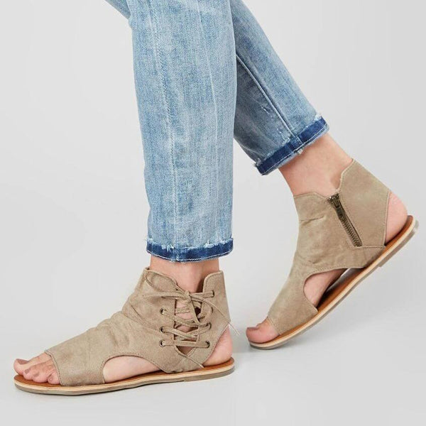 Flat With Zipper Open Toe Vintage Sandali Casual