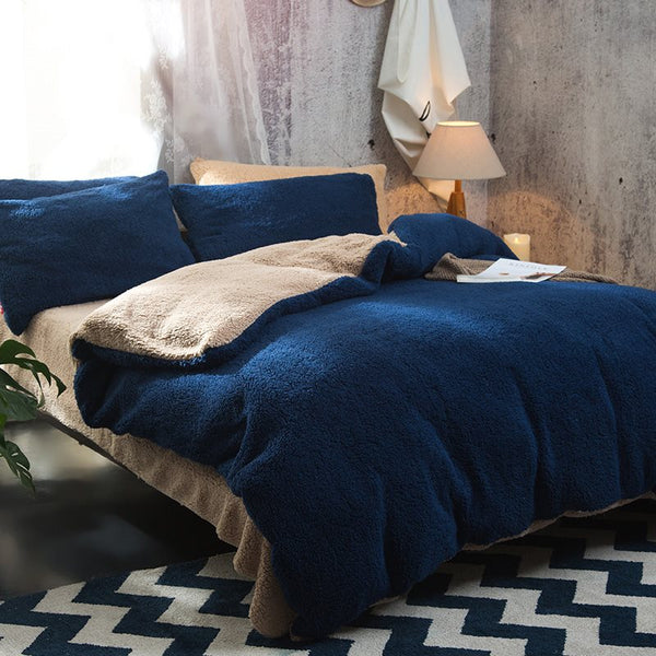 Solid Navy Blue Camel Reversible Polyester Faux Sherpa 4-Piece Bedding Sets/Duvet Cover