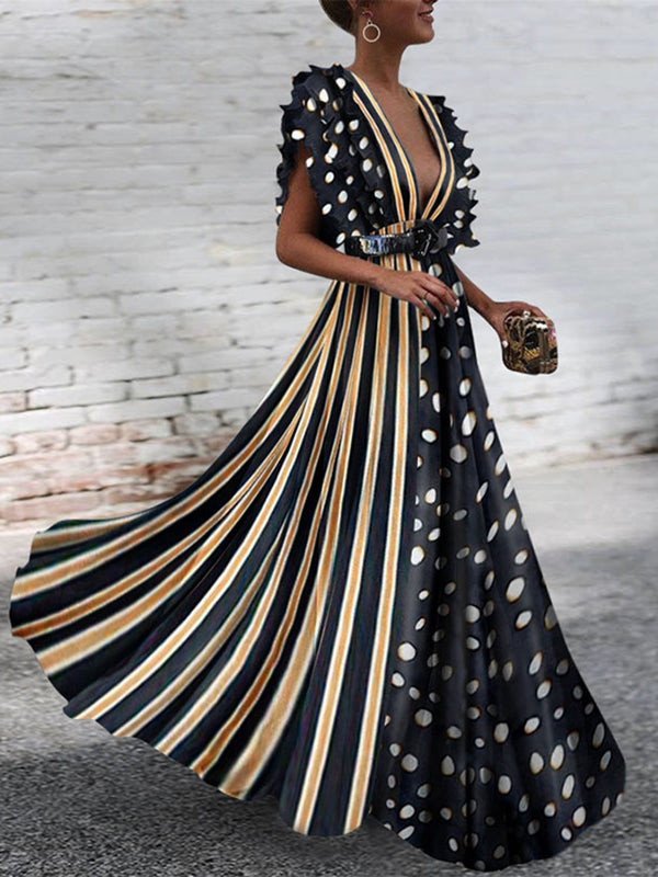 Polka Dots Stripe Patchwork V-Neck Maxi Dress with Belt