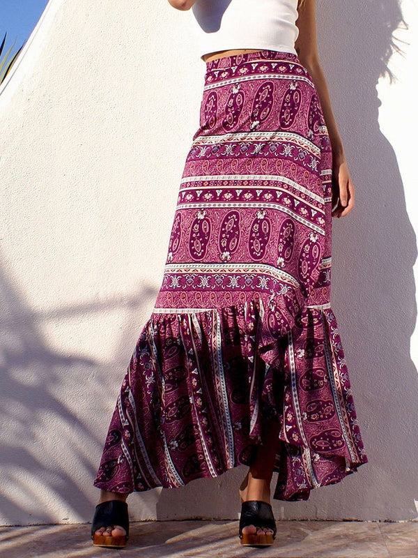 Print Ankle-Length A-Line Fashion High-Waist Skirt