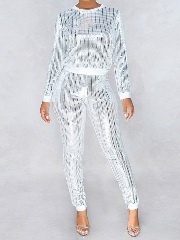 Casual Stripe Sequins Pullover Pencil Pants Ensembles de deux pièces