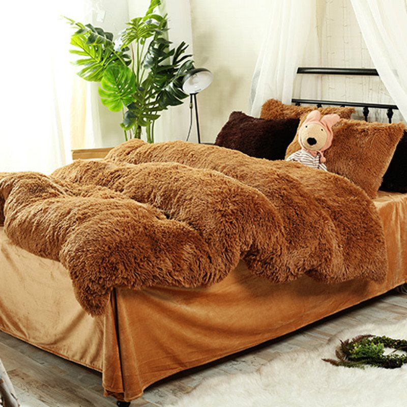 Piumino Super Soft Full Soft Plush 4-Piece Fluffy Bedding Sets / Copripiumino