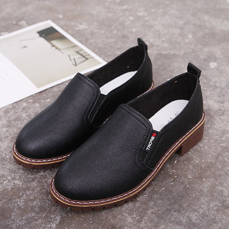 Block Heel Round Toe Slip-On Thread Plain 3.5cm Thin Shoes
