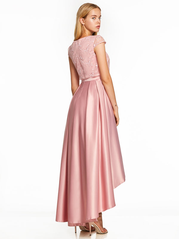 A-Line Pink Cap Sleeves Asymmetry Prom Dress